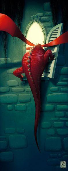 "Denis Zilber is a great illustrator. ""Enter the Dragon"". fat dragon lol so cute! Fantasy Dragon, Dragon Art, Red Dragon, Dragon Time, Dragon Comic, Funny Dragon, Face Illustration, Illustration Artists, Castle Illustration"