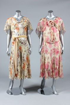 (Left) Dress, early 1930's? - Bust is 81cm/32in, about a size 4 UK/0 US. (Right) Dress by Bechoff, ca 1929 Paris - Bust is 86-92cm/34-36in, about a size 8-12 UK/4-8 US. Click to go to the absentee bidding page. This Kerry Taylor auction will end October 16th at 2:00 PM GMT (9:00 AM EST). You will need to register to bid ahead of time.