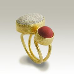 24k gold plated adjustable ring with white by artisanimpact
