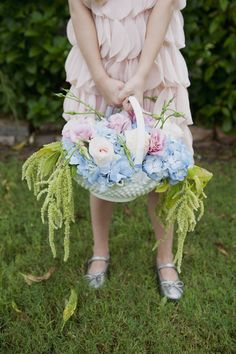 #hydrangeas, #flower-girl-basketPhotography: Christa Elyce Photography - christaelyce.comDesign: Two Be Wed - twobewed.netRead More: http://stylemepretty.com/2012/10/15/round-top-wedding-photo-shoot-from-christa-elyce-photography/