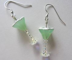 Margarita glasses with a salted rim are so much fun to wear! Swarovski crystal AB bicones make up the stem, and Swarovski crystal AB margarita beads
