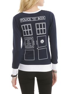 Navy blue cardigan from Doctor Who with Union Jack design on left chest, TARDIS design on back, white trim and button front closure.