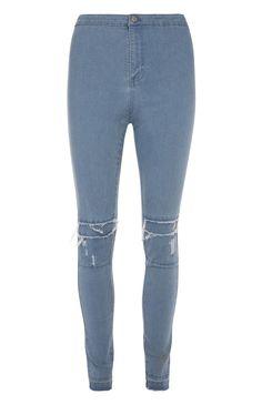 Blue High Waisted Rip Repair Jeans