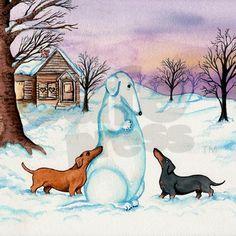 Snow Dachshunds
