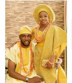 African Aso oke Couples 10 Piece Set/Traditional Nigerian Wedding Beads/Feather Fan/African Wedding Dresses/Asooke (Gold) - All About African Wedding Attire, African Attire, African Wear, African Dress, African Lace, African Fashion Designers, African Men Fashion, African Fashion Dresses, African Women