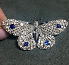Antique Jewelry Loved this pretty little diamond and sapphire butterfly brooch with tiny ruby eyes and scalloped wings, early century, it's currently on view at Sotheby's. Crystal Jewelry, Diamond Jewelry, Silver Jewelry, Diamond Rings, Gold Jewellery, Gold Rings, Diamond Brooch, Antique Jewelry, Vintage Jewelry