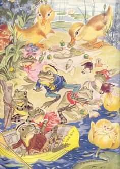 Baby Chicks Ducklings, Frogs  - Children's Book Illustrations by Hilda Boswell, from Enid Blyton's Water-Lily Story Book.