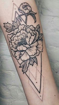 Floral Triangle Geometric Tattoo