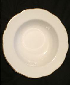 "Buffalo china 8"" bowl.  White with gold  rim, scalloped edge.  Backstamp dates to late 1970s - circa 1980s.    (4)"