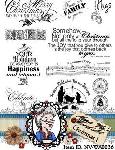 Christmas 1 Word Art Sentiments Digital Digi by NanaVicsDigitals