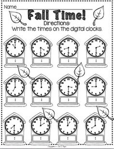 Fall Time -- writing out the digital time. #teaching #time #worksheet