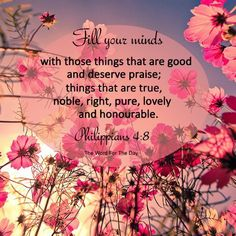 Fill your minds with those things that gar good and deserve praise; things that are true; noble, right, pure, lovely and honorable.   Philippians 4:8