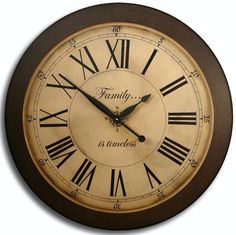 Large Wall Clock 36in Antique Style Big LOFT DELUXE w/ dark brown frame Family Heirloom INSCRIPTION included