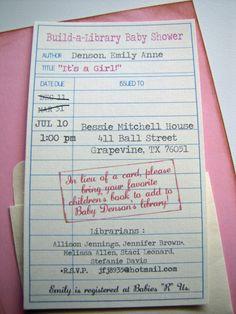 Library Themed Baby Shower Invitations- set of 30. $60.00, via Etsy.