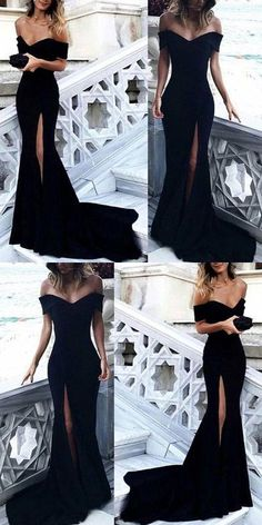 Sexy mermaid long prom dress, off the shoulder prom dress, black split evening dress 0120 by RosyProm, $142.99 USD
