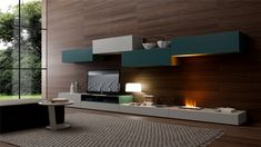 Furniture,Cool Amazing Tv Wall Panel Design Inspiration With Wonderful Indoor Floating Fireplace And Cool Custom Shelves Plus Stylish Low White Wooden Tv Cabinet Also Gorgeous Dark Brown Wood Wall Panel,Modern Tv Wall Panel Designs