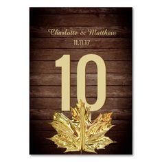 #Rustic Country Gold Leaf Wedding Table Number - #rustic #gold #wedding #bridal #weddingideas