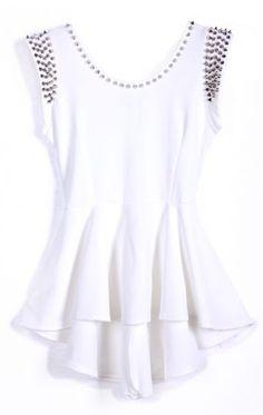 White Sleeveless Rivet High Low Dress - Sheinside.com Mobile Site