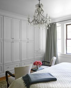 A handsome storage wall replaced an awkward closet in the master bedroom.