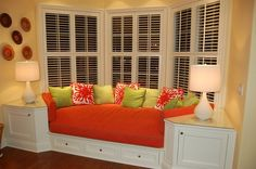 comfy bay window seat. Love the end tables built in @ Home Improvement Ideas