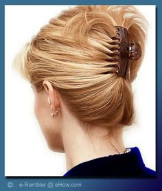 These claw clip hairstyles are super easy to do. Look up these 16 ideas and ways to use a butterfly clip. Banana Clip Hairstyles, Latest Hairstyles, Cute Hairstyles, Updo Hairstyle, Hairstyle Tutorials, Bridal Hairstyle, Hairstyle Ideas, Thin Hair Updo, Easy Updos For Long Hair