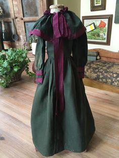 Antique French Victorian Doll Dress Jacket Long c 1870s Dark Green Purple Ribbon