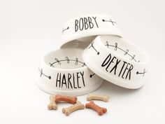 Personalised ceramic black and white pet bowl von De Eerste Keramiek Kamer - Amsterdam auf DaWanda.com