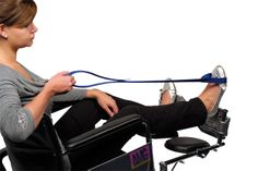 4220001 Leg lifter EZ. Enables people with limited lower extremity strength to lift the leg and foot onto a wheelchair foot rest, bed or into a car. The lifter has a loop at each end. The (46 cm) center section is rigid plastic. One loop is placed around the wrist and the other around the foot or cast. Made of high-strength nylon webbing.