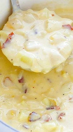 Potato Soup Recipe ~ thick, creamy and delicious, and made healthier without heavy cream.