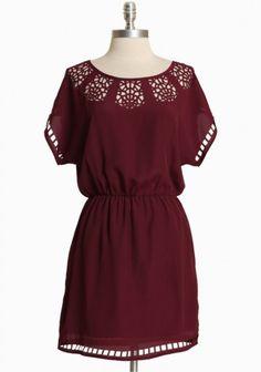 Ruche Paper Birch Cutout Dress in Berry - $42.99