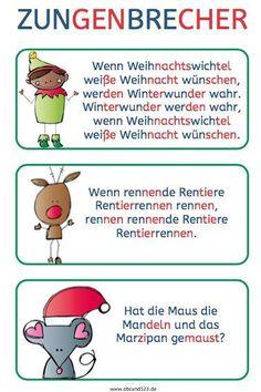 Christmas tongue twister – Famous Last Words Early Intervention Program, Kindergarten Portfolio, Tongue Twisters, Reading Practice, Learn German, Kids Behavior, Educational Programs, German Language, Famous Last Words