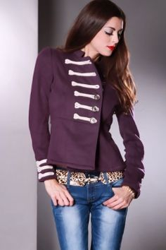 Purple Beige Marching Band Detail Adorable Sweater