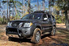 Nissan Pathfinder with bull bar and safari rack with lights
