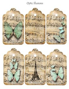 Handmade music paper tags with butterflies. Sheet Music Crafts, Music Paper, Vintage Tags, Vintage Labels, Vintage Paper, Decoupage, Card Tags, Gift Tags, Cards
