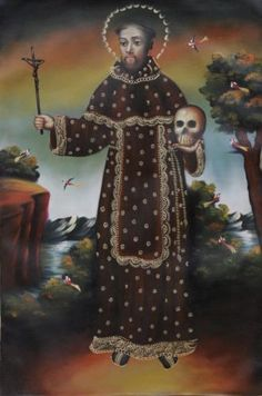 St-Francis-Of-Assisi-Original-Peru-Folk-Art-Icon-Oil-Painting-Canvas-094-Santos