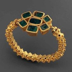 Late Roman Bracelet. Late Roman, 3rd-4th century A.D., gold set with emeralds