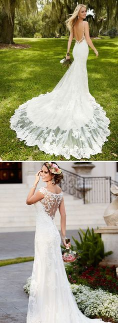 Lace wedding dresses with lace backs, lace trains and lace accents from bridal designer Stella York