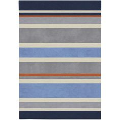 Carson Carrington Virrat Handmade Grey Stripe Area Rug - x (Blue/Orange - x Gray Kids Area Rugs, Blue Area Rugs, Home Depot, Polyester Rugs, Thing 1, Striped Rug, Rug Shapes, Rectangular Rugs, Hand Tufted Rugs