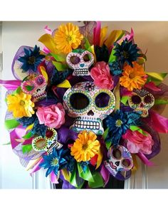 Dia de los Muertos Day of The Dead Sugar Skull Wreath by Southern Passion Wreaths posted on photo contest @ CraftOutlet.com