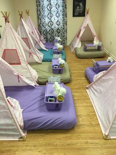 Our generation (target) doll teepee with an air mattress and bed tray...super cute slumber party idea!