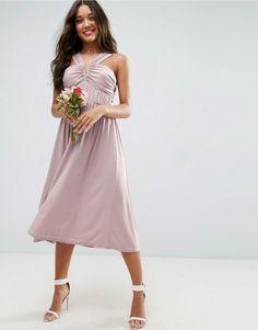 ASOS WEDDING V Front Ruched Front Midi Dress