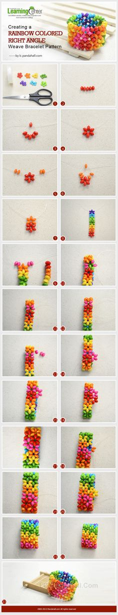 Creating a Rainbow Right Angle Weave Bracelet OR how to nestle superduos into rows of flowers. #Seed #Bead #Tutorials