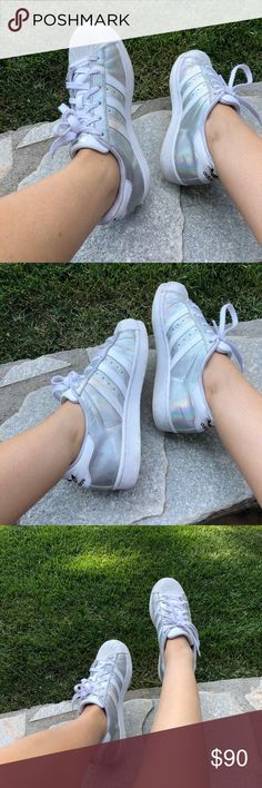 custom holographic adidas love these super cool holographic sneakers but I have way too many pairs of sneakers so it's time to sell them! 💎💗 adidas Shoes Sneakers