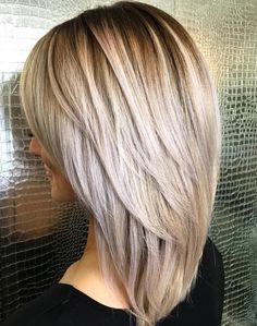hair lengths medium layers Medium Hairstyle With V-Cut Layers Layered Haircuts For Medium Hair, Haircut For Thick Hair, Long Layered Hair, Medium Hair Cuts, Haircut Medium, Haircut Layers, Hairstyles For Medium Length Hair With Bangs, Hairstyles Haircuts, Straight Hairstyles