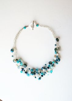 Teal blues hand crocheted wire jewelry by AmandaFaubusFineArt, $35.00
