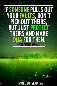 """If someone pulls out your faults, don't pick out theirs, but just protect theirs and make dua for them"""