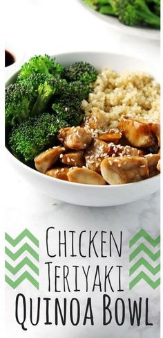 Chicken Teriyaki Quinoa Bowl - a quick, easy and healthy recipe for lunch or dinner! It is also so easy to mix with different vegetables, proteins, etc. Have fun - Madrid - Chicken Teriyaki Quinoa Bowl – a quick, easy and healthy recipe … … – - Healthy Dinner Recipes, Healthy Snacks, Healthy Grains, Vegetarian Recipes, Healthy Quinoa Recipes, Dessert Healthy, Breakfast Healthy, Slower Cooker Recipes Healthy, Eat Clean Breakfast