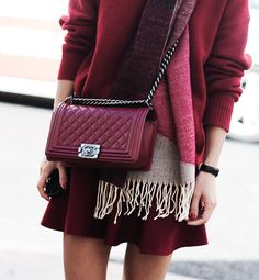 All Burgundy everything | Chanel bag