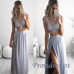 Cute grey lace chiffon two pieces prom dress with slit, fashion prom dress 2016