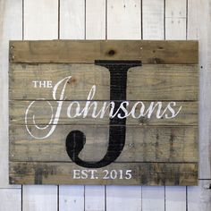 I AM NOT TAKING ANYMORE CHRISTMAS ORDERS. Thank you for you continued support and understanding. We hope you have a wonderful Holiday Season!  Personalized Family name sign. This reclaimed pallet wood sign would be great for a housewarming gift, wedding gift or anniversary gift. It would also be a wonderful gift for parents or grandparents on special occasions. Some people also have used them for business signs or company signs. For the wording on your custom name sign, you can choose any…